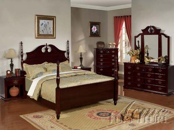 6 Piece Post Bedroom Set in Dark Cherry Finish by Acme - 12500Q