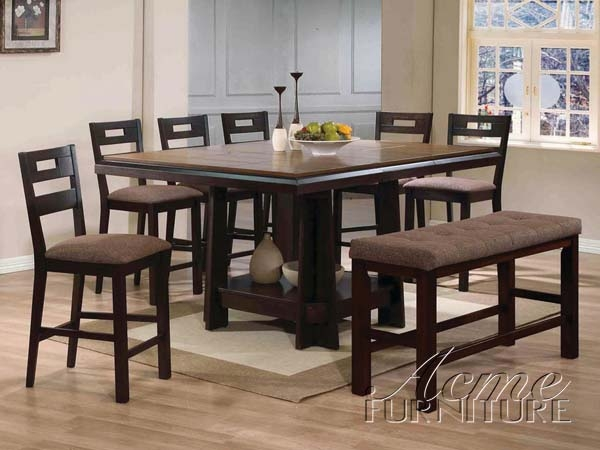 Harrison 5 Piece Counter Height Dining Set In Espresso Finish By Acme 14310