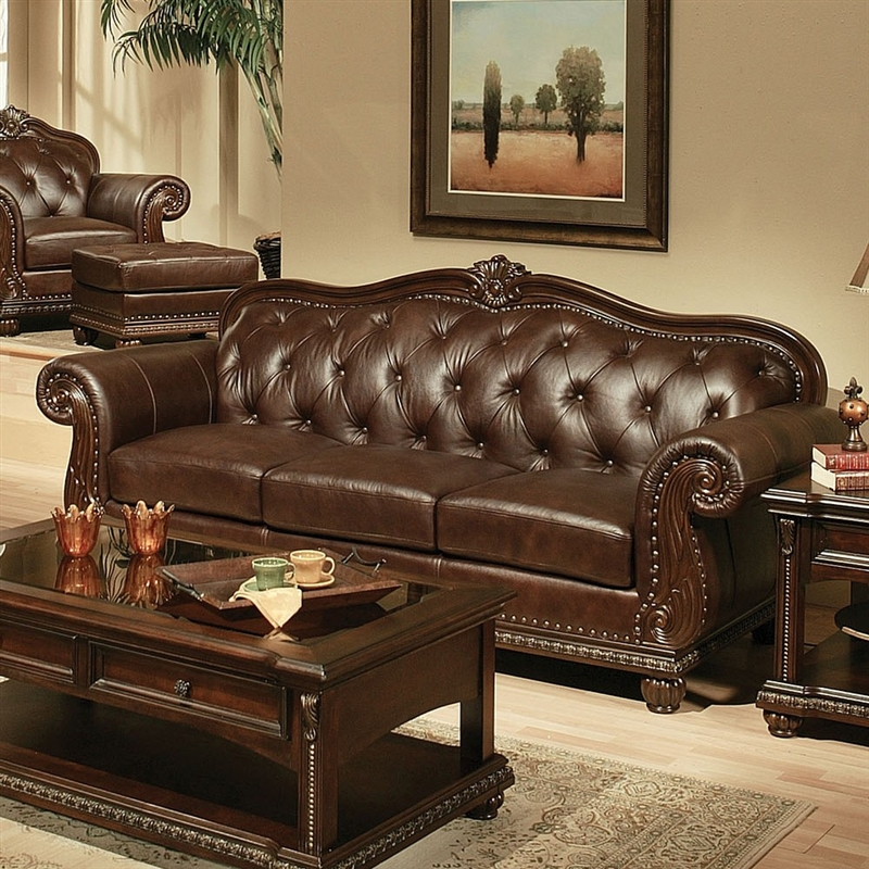 Italian Leather Sofa By Cake: Anondale Brown Leather Sofa By Acme