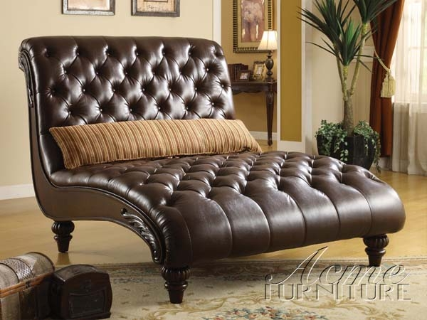 Anondale Brown Leather Chaise By Acme 15035
