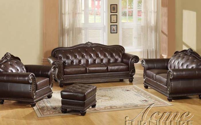 Anondale Brown Leather Chaise by Acme - 15035