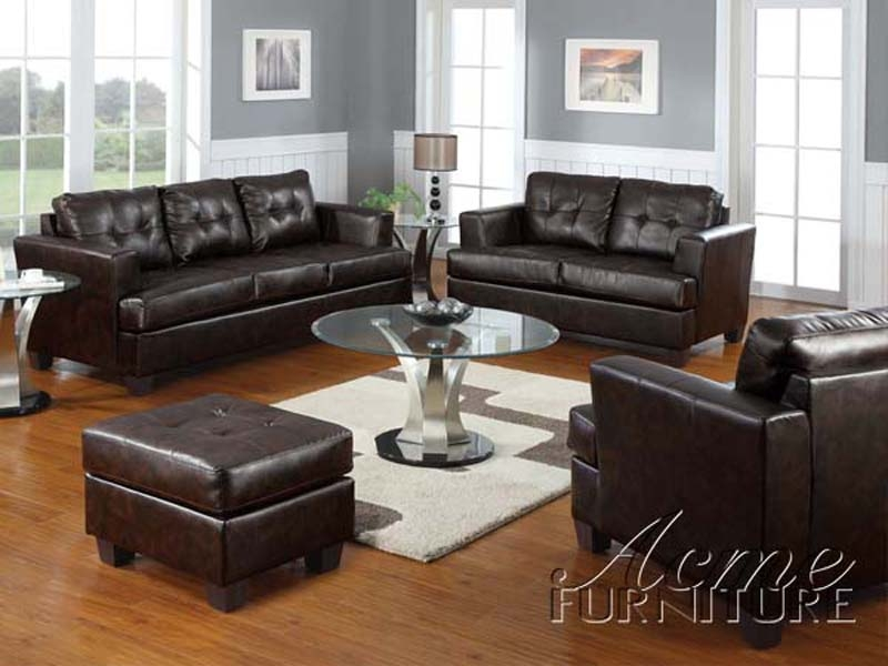 Brown Leather 2 Piece Sleeper Sofa Set