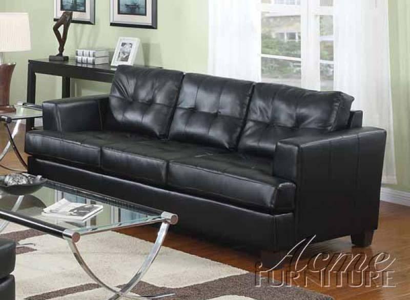 Diamond Black Leather Sleeper Sofa by Acme
