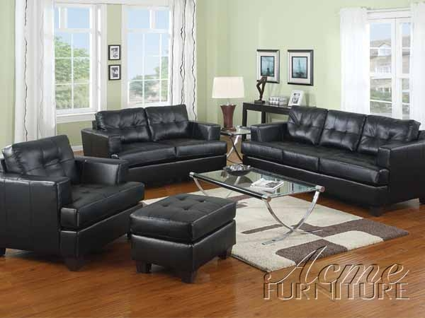 Black Leather 2 Piece Sleeper Sofa Set by Acme S