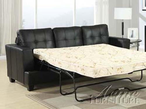 Diamond Black Leather 2 Piece Sleeper Sofa Set by Acme - 15061-S