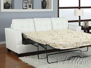 Diamond White Leather Sleeper Sofa by Acme - 15062