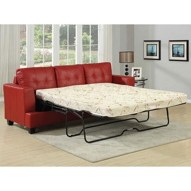 Diamond Red Leather Sleeper Sofa by Acme - 15063