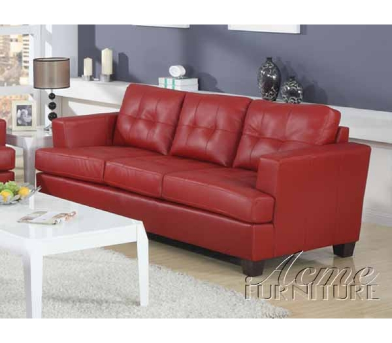 Diamond Red Leather 2 Piece Sleeper Sofa Set by Acme - 15063-S