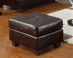 Diamond Brown Leather Ottoman by Acme - 15073