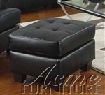 Diamond Black Leather Ottoman by Acme - 15093
