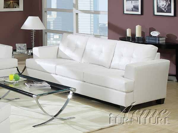 Diamond White Leather Sofa by Acme - 15095