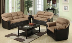 Carin 2 Piece Saddle Microfiber Dark Brown Bycast Sofa Set by Acme - 15140-S