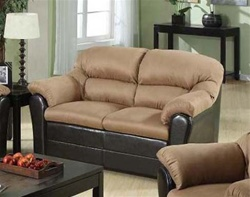 Carin Saddle Microfiber Dark Brown Bycast Love Seat by Acme - 15141