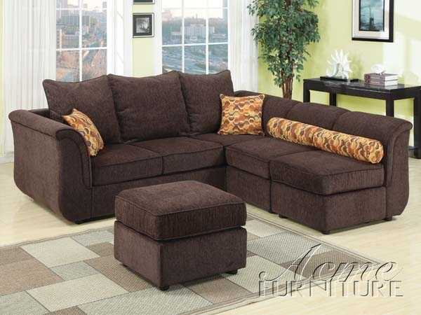 caisy chocolate chenille modular sectional sofa with ottoman by acme