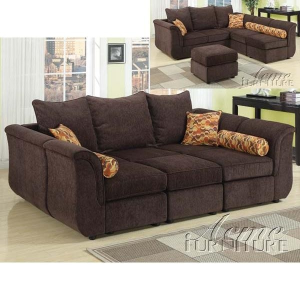 Caisy Chocolate Chenille Modular Sectional Sofa with Ottoman by