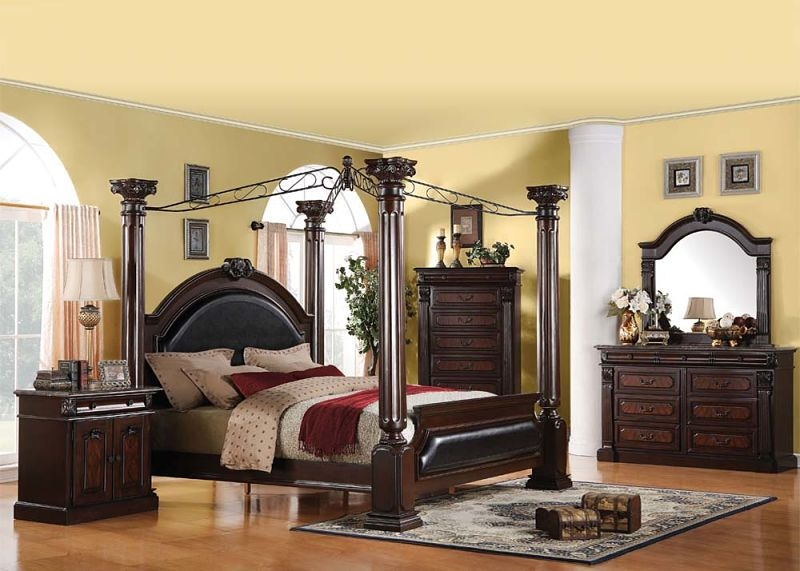 Roman Empire Canopy Bed in Dark Cherry Two Tone Finish by Acme