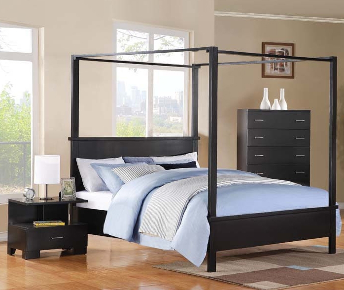 London Canopy Bed 6 Piece Bedroom Set in Black Finish by Acme - 20050