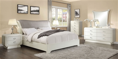 Bellagio Sleigh Bed 6 Piece Bedroom Set in Ivory High Gloss Finish by Acme - 20390