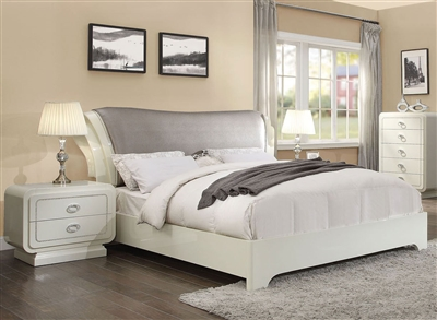 Bellagio Sleigh Bed in Ivory High Gloss Finish by Acme - 20390Q