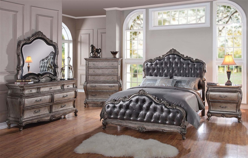 Bedroom Set In Antique Silver Finish
