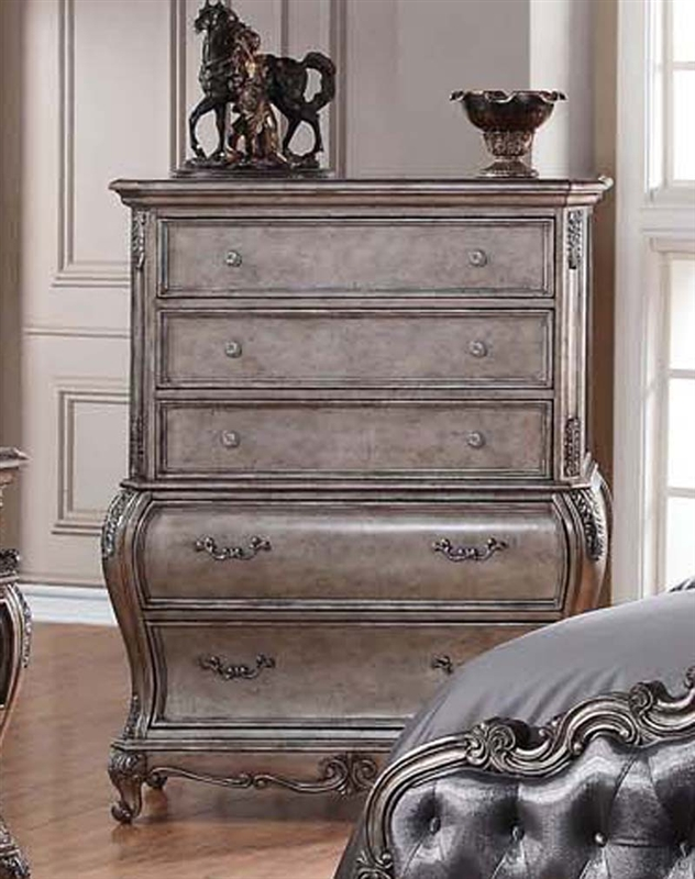 Top Chantelle 6 Piece Bedroom Set in Antique Silver Finish by Acme - 20540 QJ76