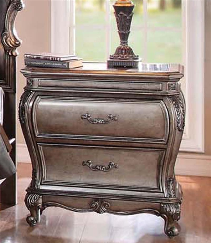 Chantelle Granite Top Nightstand in Antique Silver Finish by Acme