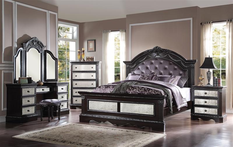 Bedroom Sets Espresso athena silver 6 piece bedroom set in espresso finishacme - 20920