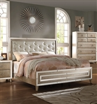 Voeville Upholstered Bed in Antique Gold Finish by Acme - 21000Q