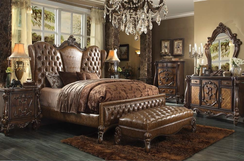 Versailles 6 Piece Bedroom Set In Cherry Oak Finish By