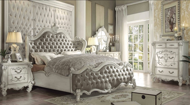 Versailles 6 Piece Traditional Bedroom Set in Bone White Finish by Acme -  21150