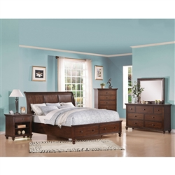 Aceline Storage Bed 6 Piece Bedroom Set in Brown Cherry Finish by Acme - 21380