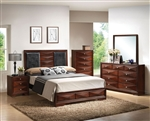 Windsor Platform Bed 6 Piece Bedroom Set in Merlot Finish by Acme - 21920