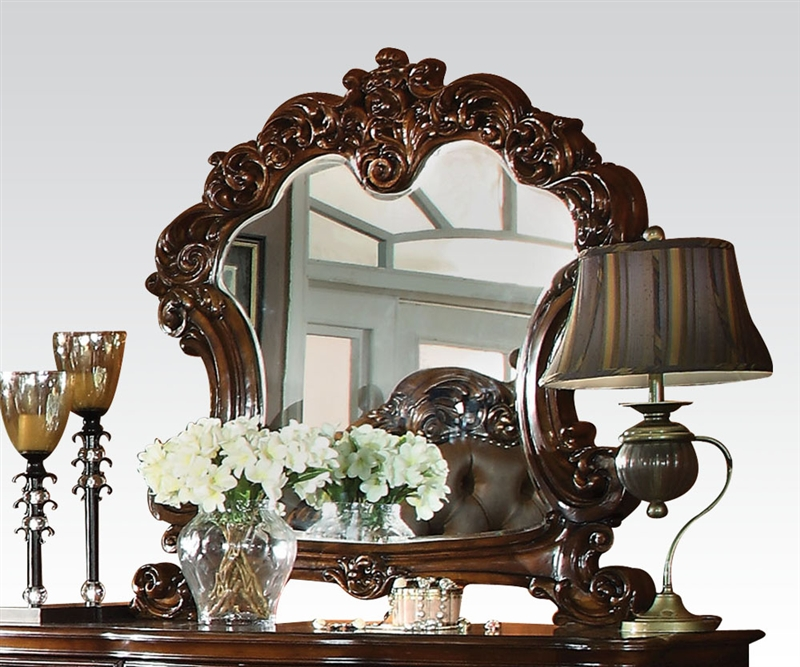 Room Service Furniture Nyc: Vendome Elaborate Mirror In Cherry Finish By Acme