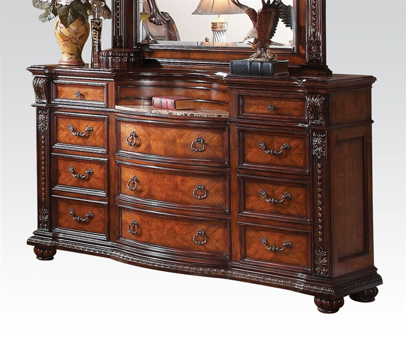 Nathaneal Marble Top Dresser In Tobacco Finish By Acme 22315
