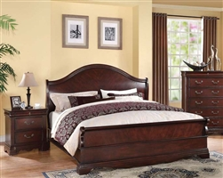 Beverly Sleigh Bed in Dark Cherry Finish by Acme - 22730Q