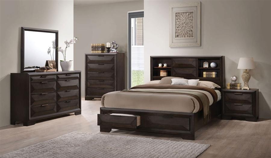 Merveille Storage Bed 6 Piece Bedroom Set in Espresso Finish by Acme - 22870