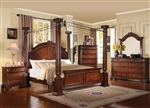 Roman Empire III Canopy 6 Piece Bedroom Set in Dark Walnut Finish by Acme - 23340