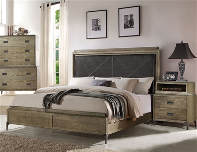 Athouman Panel Bed in Weathered Oak Finish by Acme - 23910Q