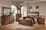 Arielle Panel Upholstered Bed 6 Piece Bedroom Set in Oak Finish by Acme - 24440
