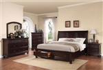 Grayson Storage Bed 6 Piece Bedroom Set in Dark Walnut Finish by Acme - 24610
