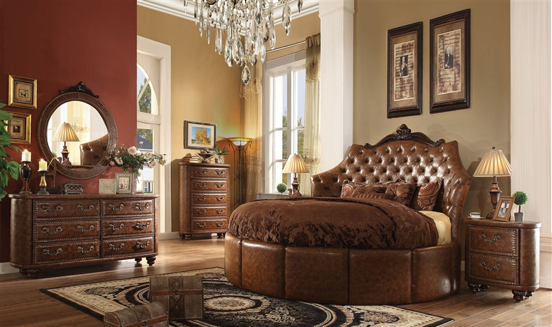 Varada Crescent King Bed 6 Piece Traditional Bedroom Set in Antique Cherry  Finish by Acme - 25157RD-S