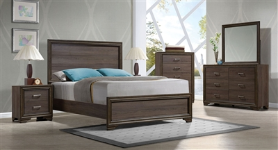 Cyrille Panel Bed 6 Piece Bedroom Set in Walnut Finish by Acme - 25840