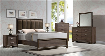 Cyrille Upholstered Bed 6 Piece Bedroom Set in Walnut Finish by Acme - 25850
