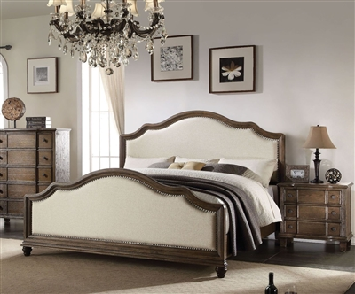 Baudouin Bed in Weathered Oak Finish by Acme - 26110Q