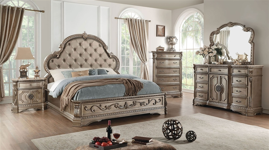 Northville 6 Piece Traditional Bedroom Set with Wooden Tops in Antique  Champagne Finish by Acme - 26930