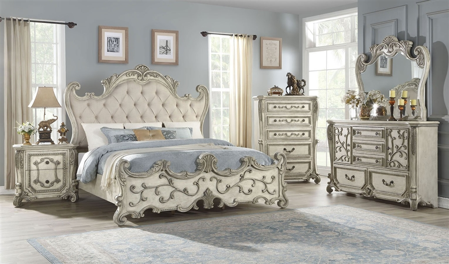 Braylee 6 Piece Traditional Bedroom Set, White Traditional Bedroom Furniture