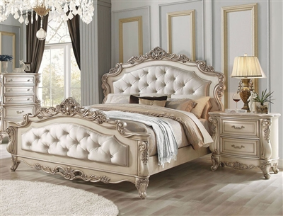 Gorsedd Traditional Bed in Antique Champagne Finish by Acme - 27440Q
