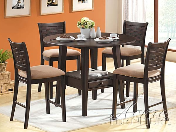 5 Piece Tommy Counter Height Dining Set With Round Table Top In Cappuccino  Finish By Acme   4110