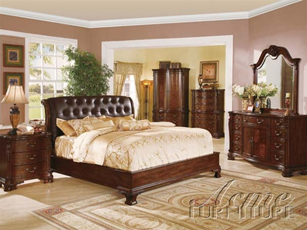 Top Grain Brown Leather Headboard 6 Piece Saint Clair Bedroom Set ...