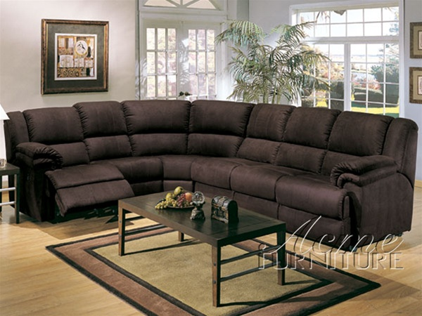 Queen Sleeper Sectional Sofa in Chocolate Microfiber by Acme 5010